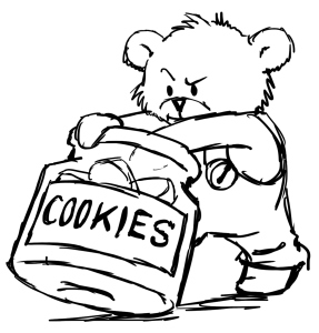 Jack the teddy bear reaching into a cookie jar